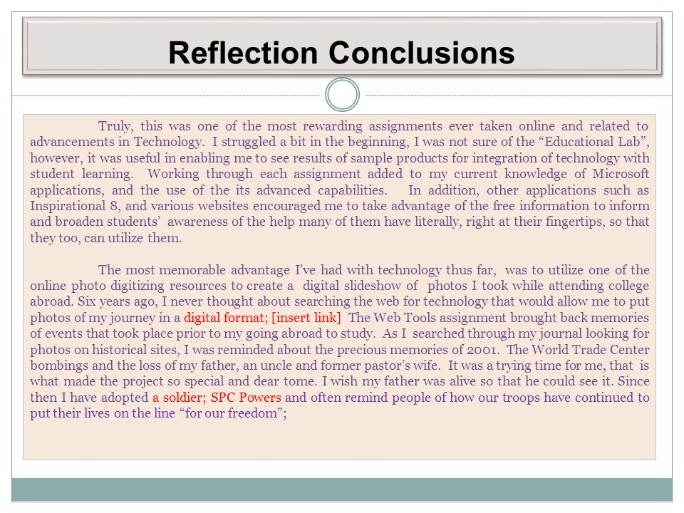 Reflection Conclusions
