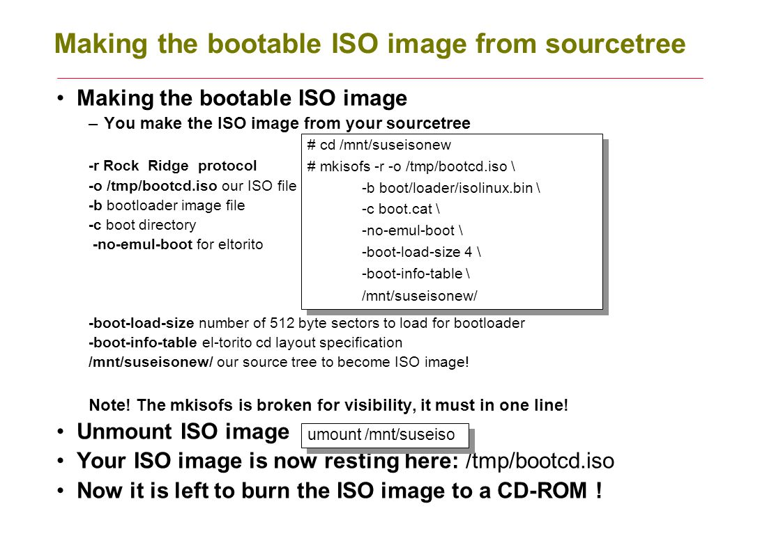 Making the bootable ISO image from sourcetree