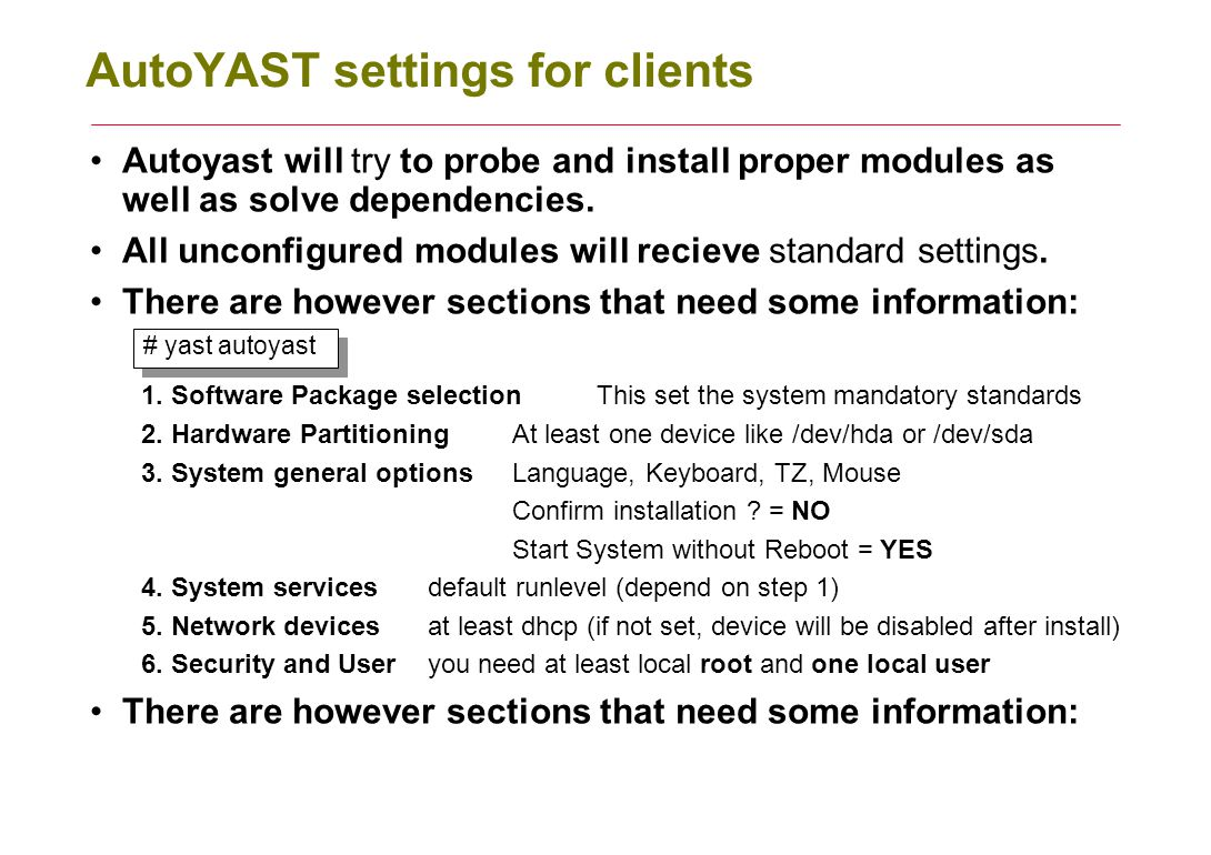 AutoYAST settings for clients