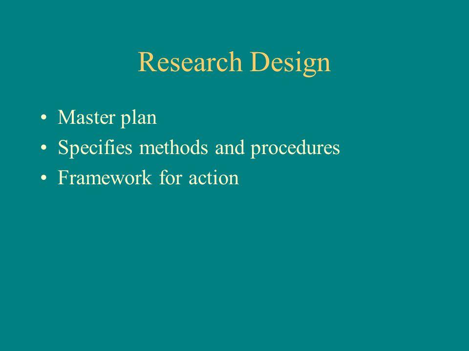 Research Design Master plan Specifies methods and procedures