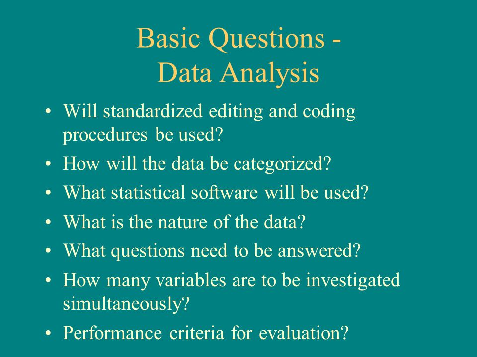 Basic Questions - Data Analysis