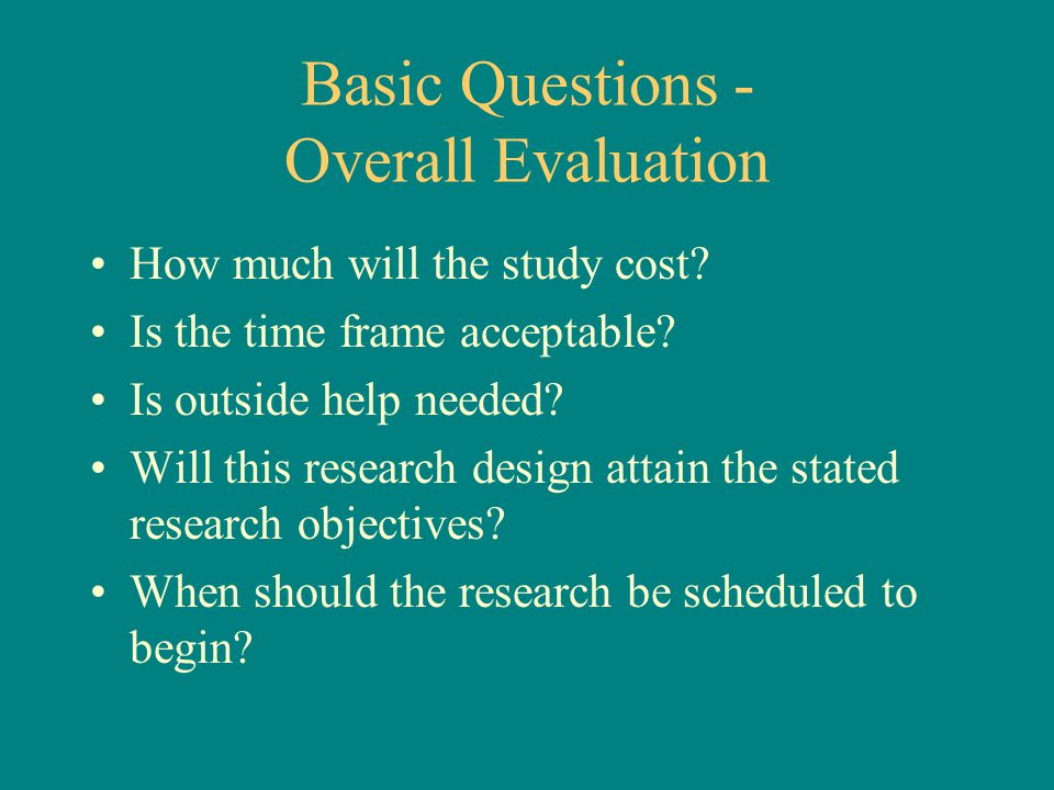 Basic Questions - Overall Evaluation