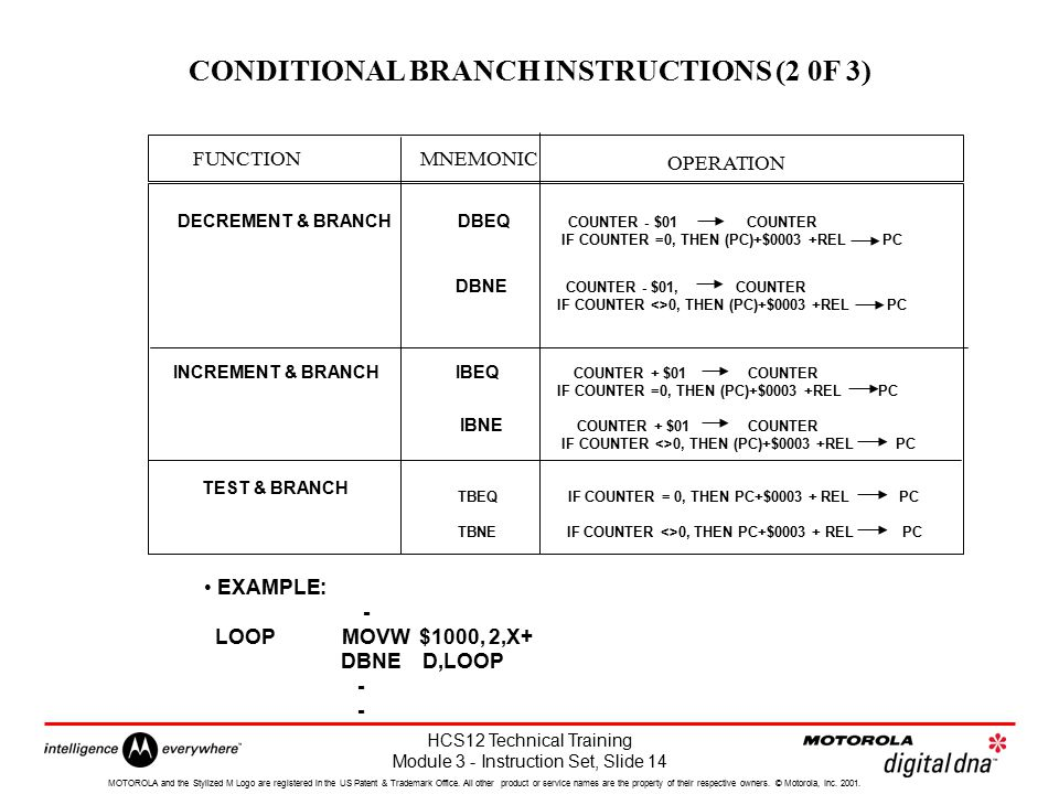 CONDITIONAL BRANCH INSTRUCTIONS (2 0F 3)