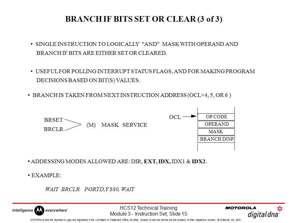 BRANCH IF BITS SET OR CLEAR (3 of 3)