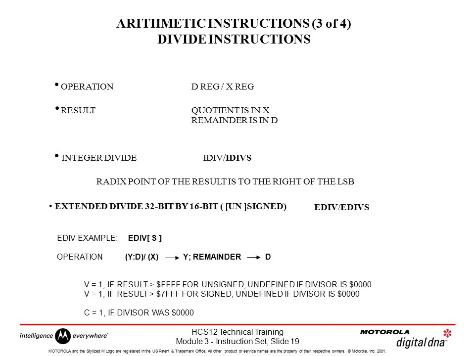 ARITHMETIC INSTRUCTIONS (3 of 4) DIVIDE INSTRUCTIONS