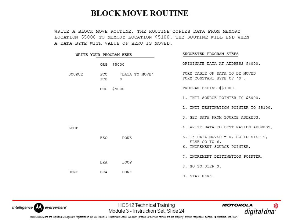 BLOCK MOVE ROUTINE WRITE A BLOCK MOVE ROUTINE. THE ROUTINE COPIES DATA FROM MEMORY.