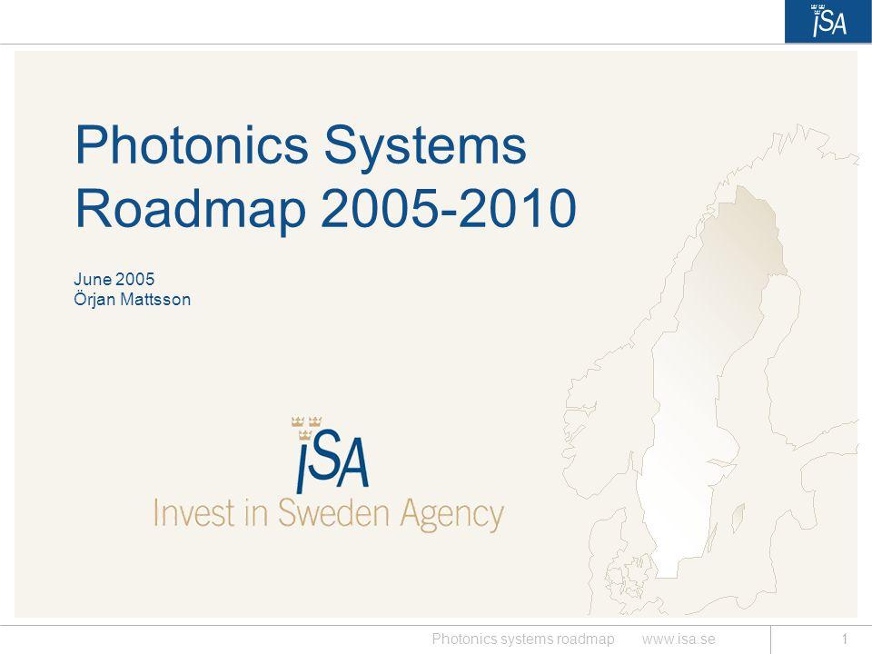 Photonics Systems Roadmap 2005-2010 June 2005 Örjan Mattsson