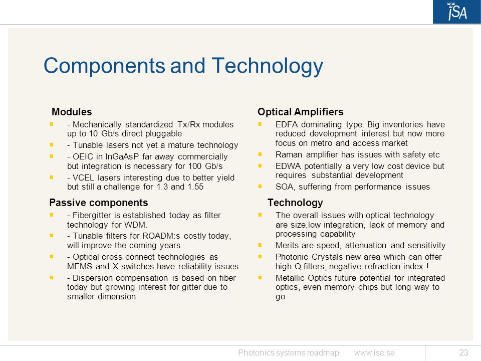 Components and Technology