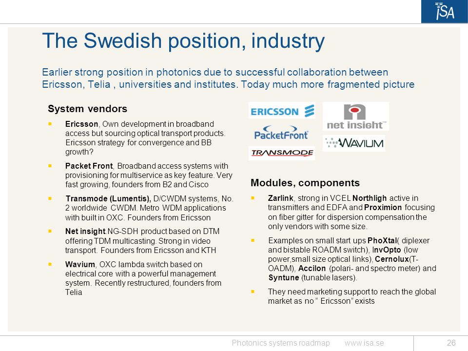 The Swedish position, industry Earlier strong position in photonics due to successful collaboration between Ericsson, Telia , universities and institutes. Today much more fragmented picture