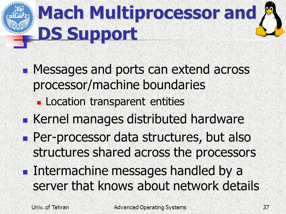 Mach Multiprocessor and DS Support