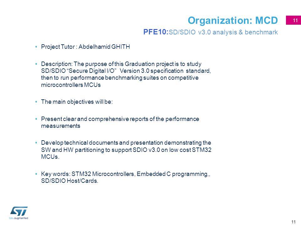 Organization: MCD PFE10:SD/SDIO v3.0 analysis & benchmark