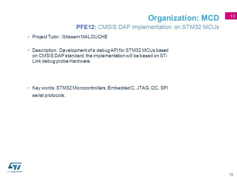Organization: MCD PFE12: CMSIS DAP implementation on STM32 MCUs
