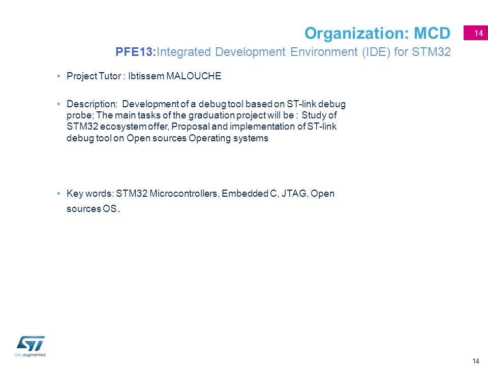 Organization: MCD PFE13:Integrated Development Environment (IDE) for STM32