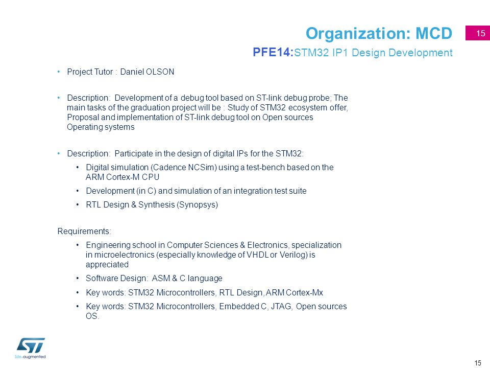 Organization: MCD PFE14:STM32 IP1 Design Development