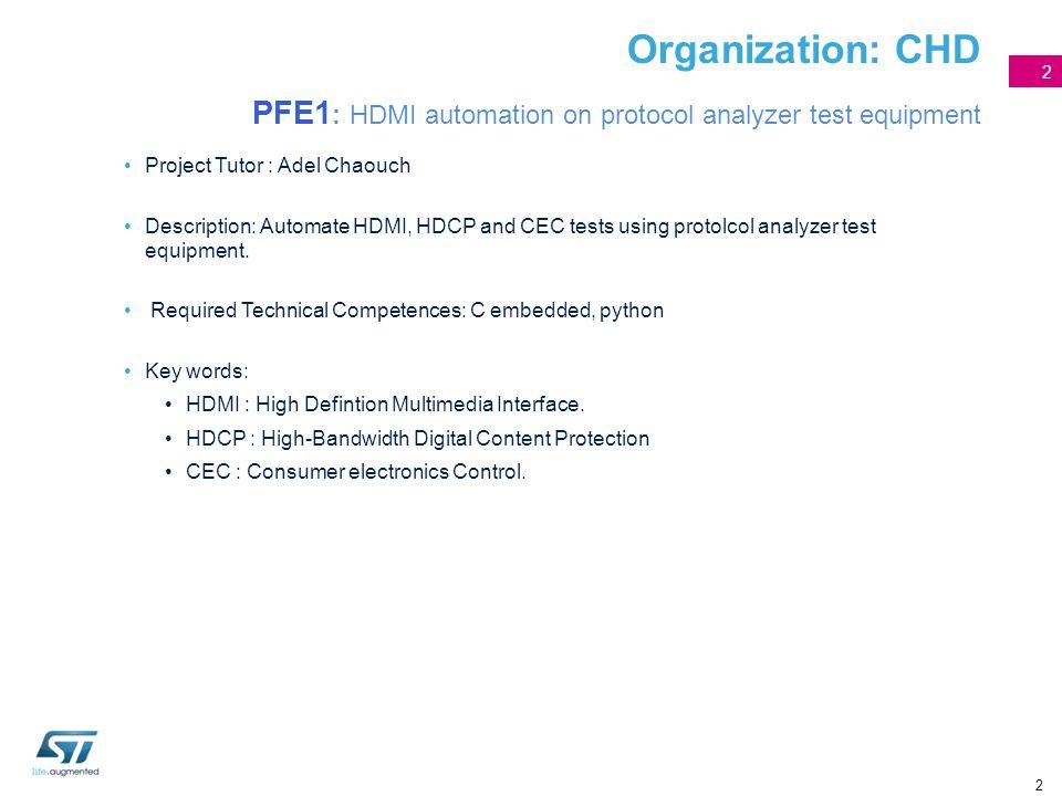 Organization: CHD PFE1: HDMI automation on protocol analyzer test equipment