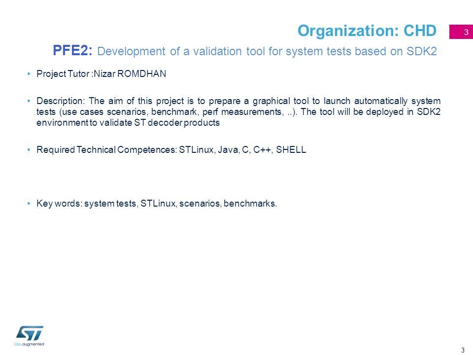 Organization: CHD PFE2: Development of a validation tool for system tests based on SDK2