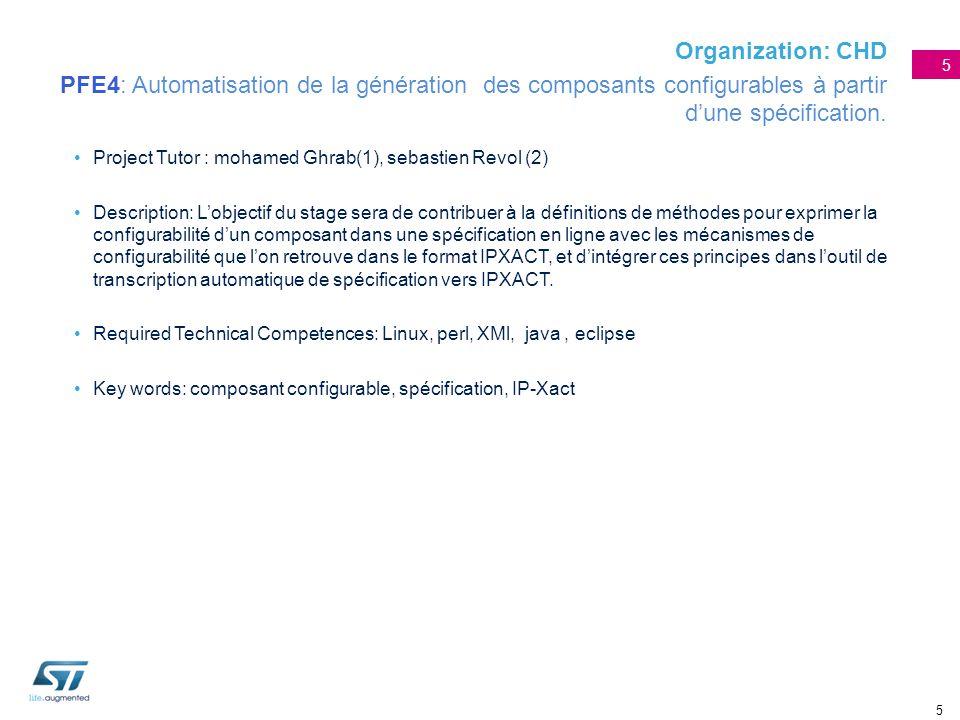 Organization: CHD PFE4: Automatisation de la génération des composants configurables à partir d'une spécification.