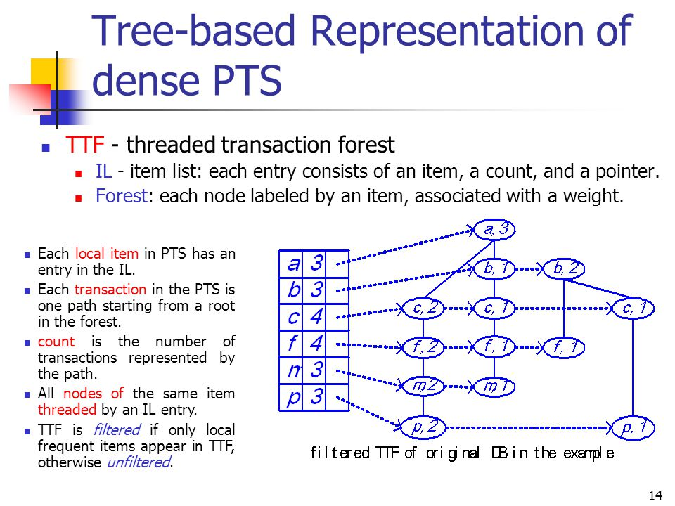 Tree-based Representation of dense PTS