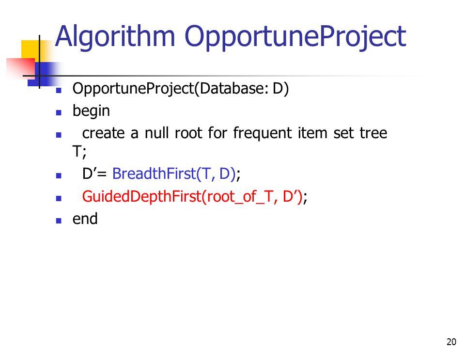 Algorithm OpportuneProject