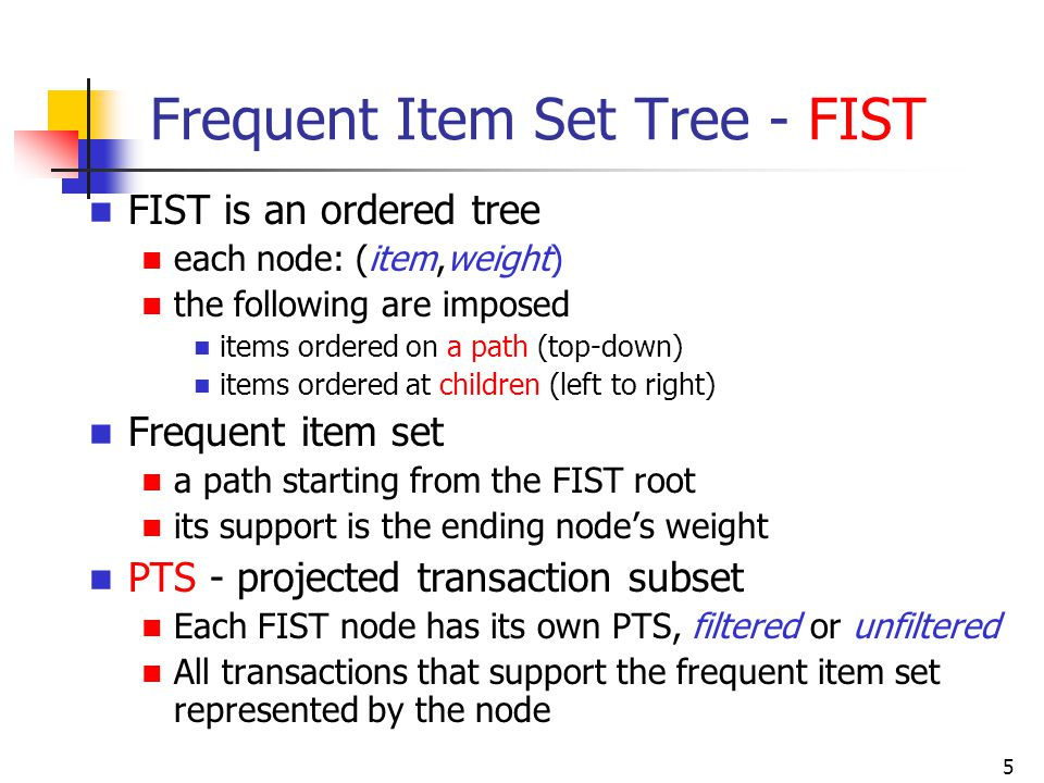 Frequent Item Set Tree - FIST
