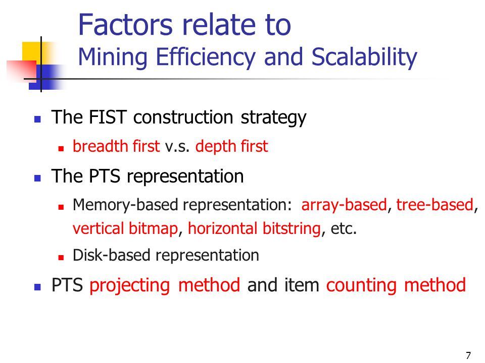 Factors relate to Mining Efficiency and Scalability