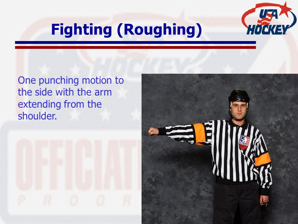 Fighting (Roughing) One punching motion to the side with the arm extending from the shoulder.