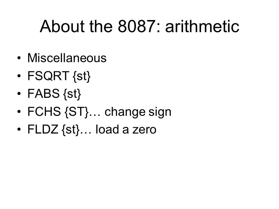 About the 8087: arithmetic Miscellaneous FSQRT {st} FABS {st}