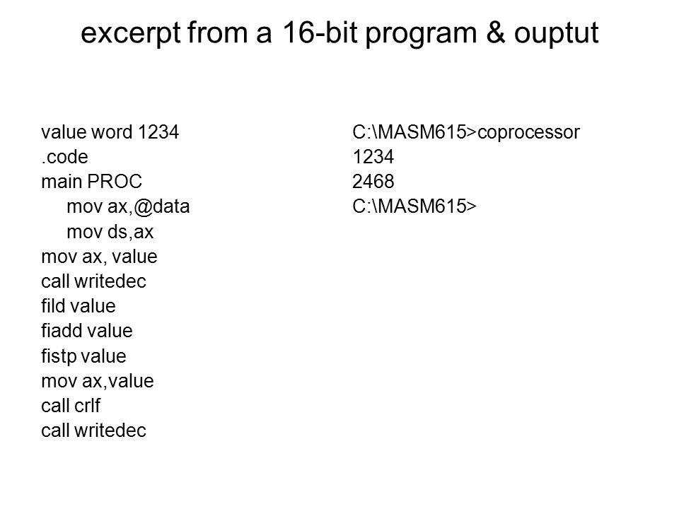 excerpt from a 16-bit program & ouptut
