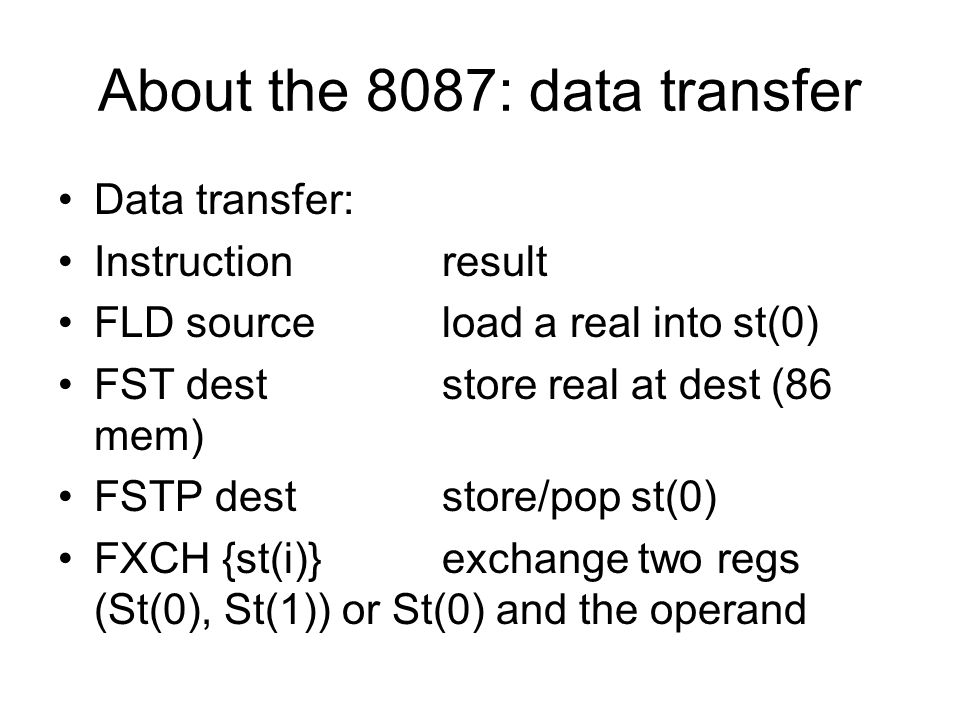 About the 8087: data transfer