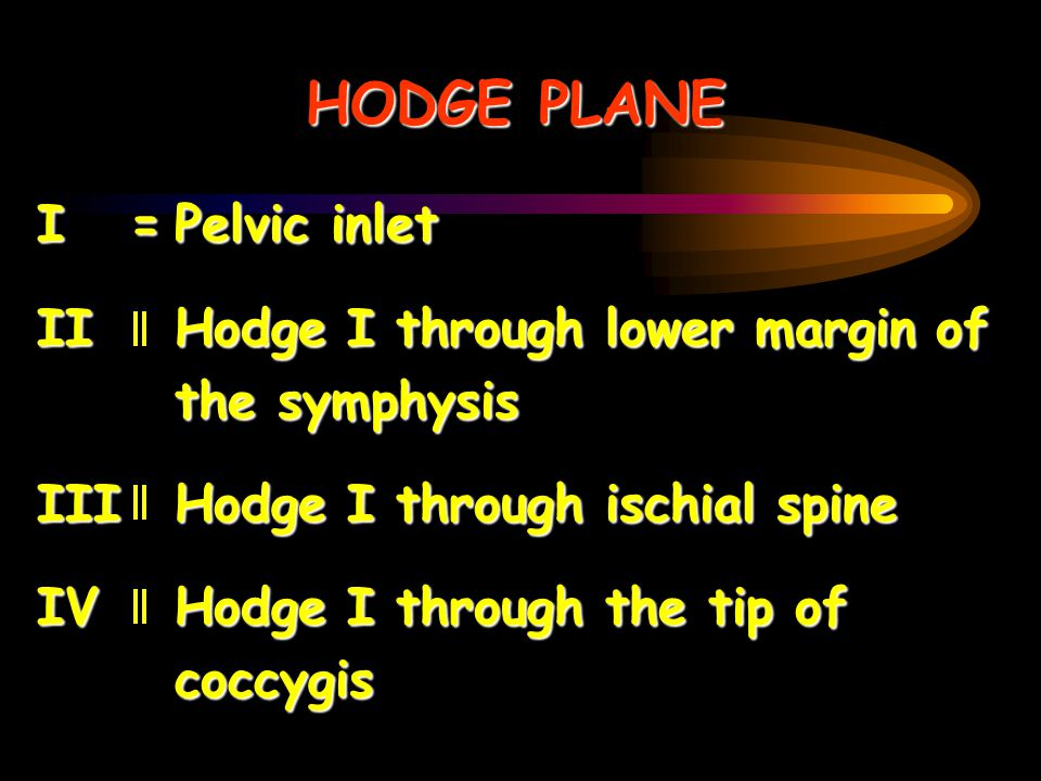 HODGE PLANE I = Pelvic inlet