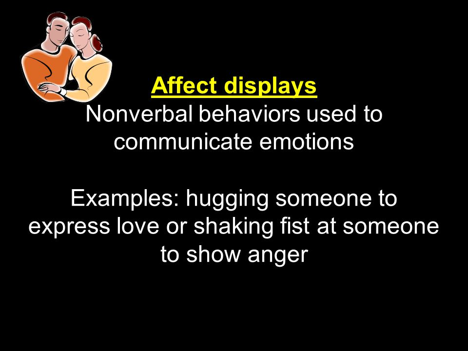 Affect displays Nonverbal behaviors used to communicate emotions Examples: hugging someone to express love or shaking fist at someone to show anger
