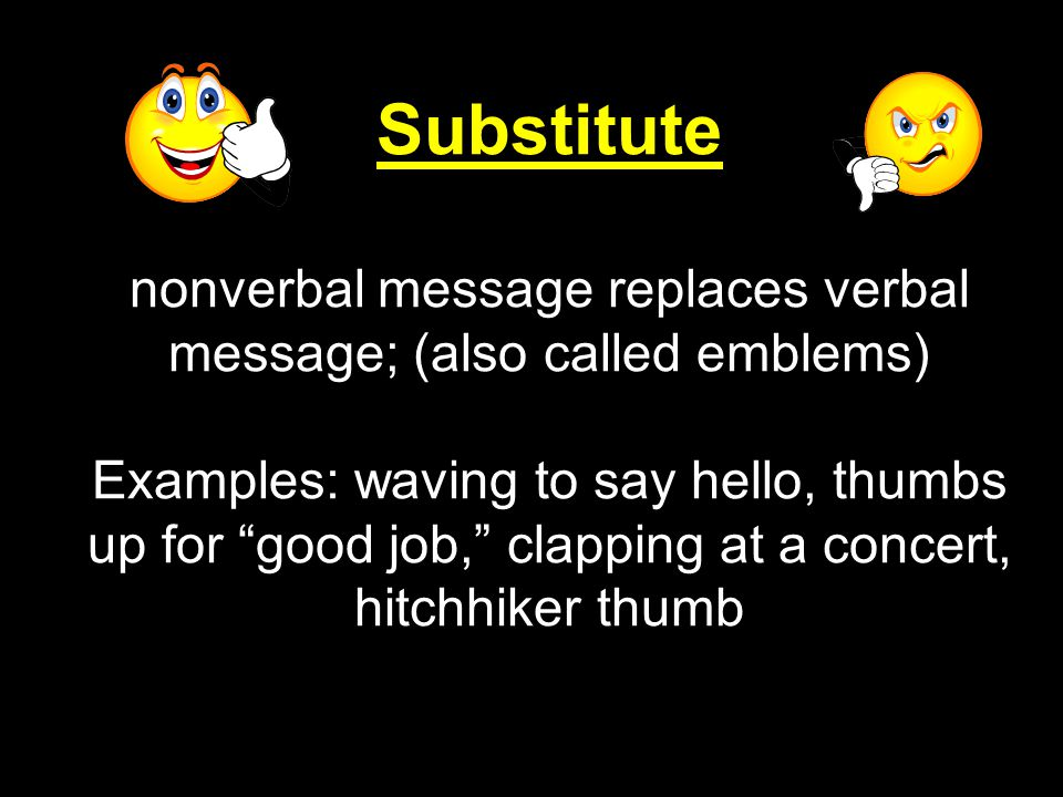 Substitute nonverbal message replaces verbal message; (also called emblems)