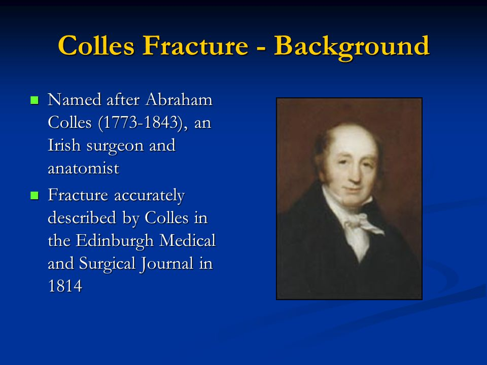 Colles Fracture - Background