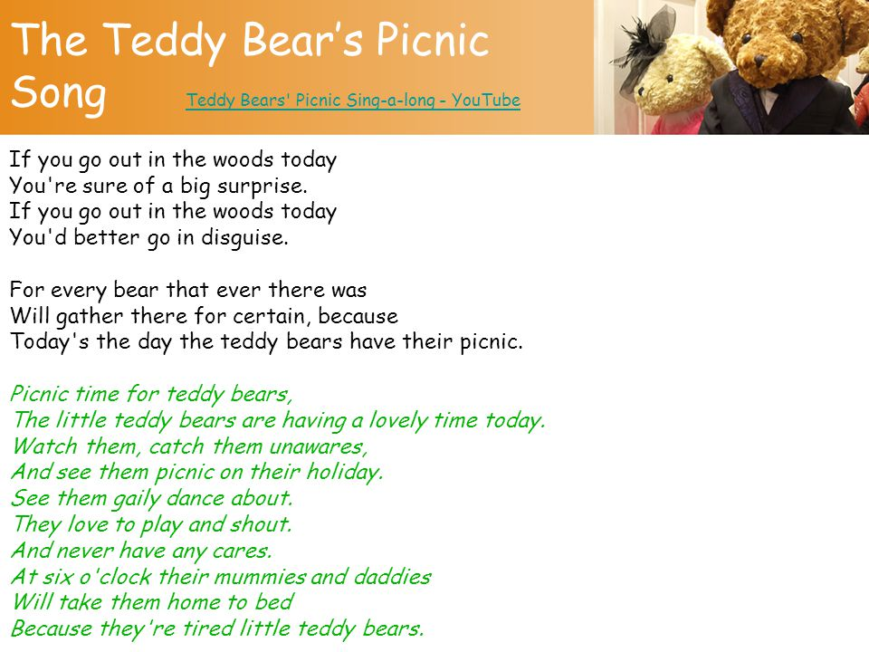 The Teddy Bear's Picnic Song Teddy Bears Picnic Sing-a-long - YouTube