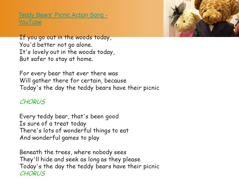 Teddy Bears Picnic Action Song - YouTube