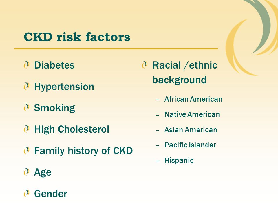 CKD risk factors Diabetes Hypertension Smoking High Cholesterol