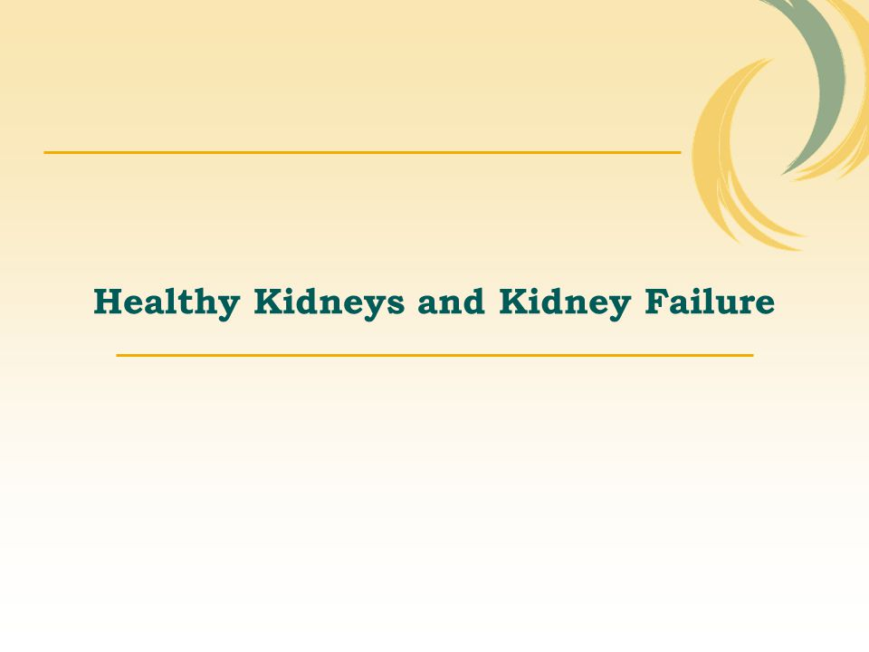 Healthy Kidneys and Kidney Failure
