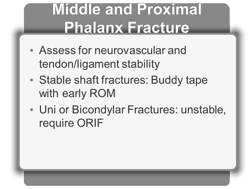 Middle and Proximal Phalanx Fracture