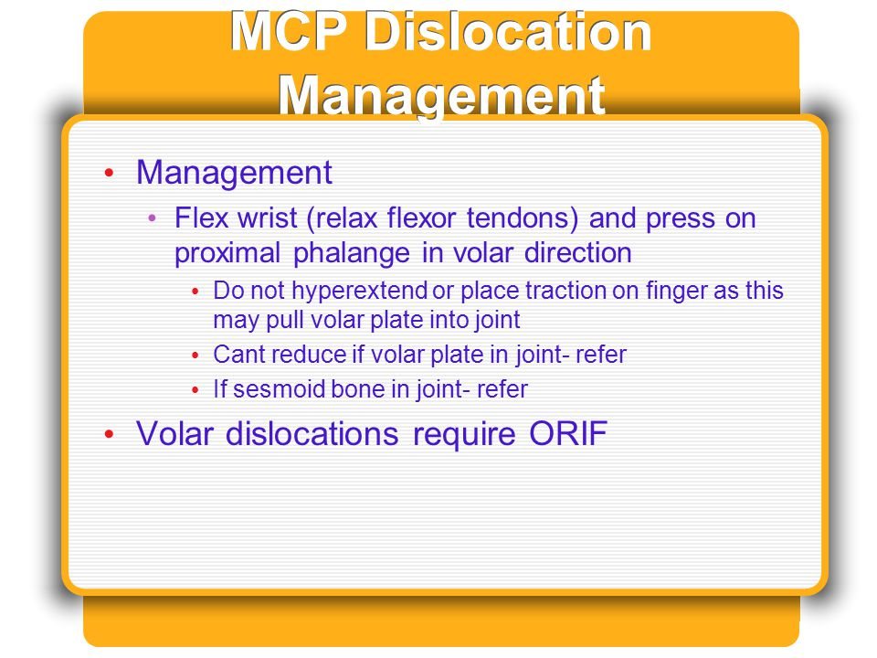 MCP Dislocation Management