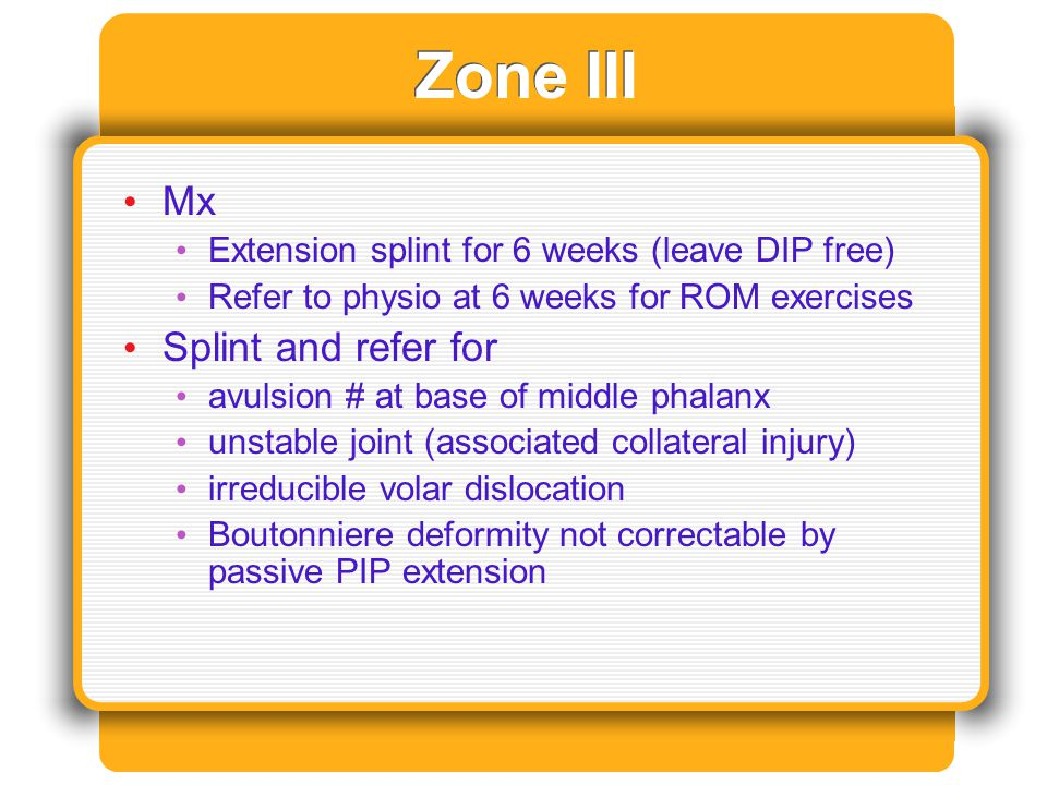 Zone III Mx Splint and refer for