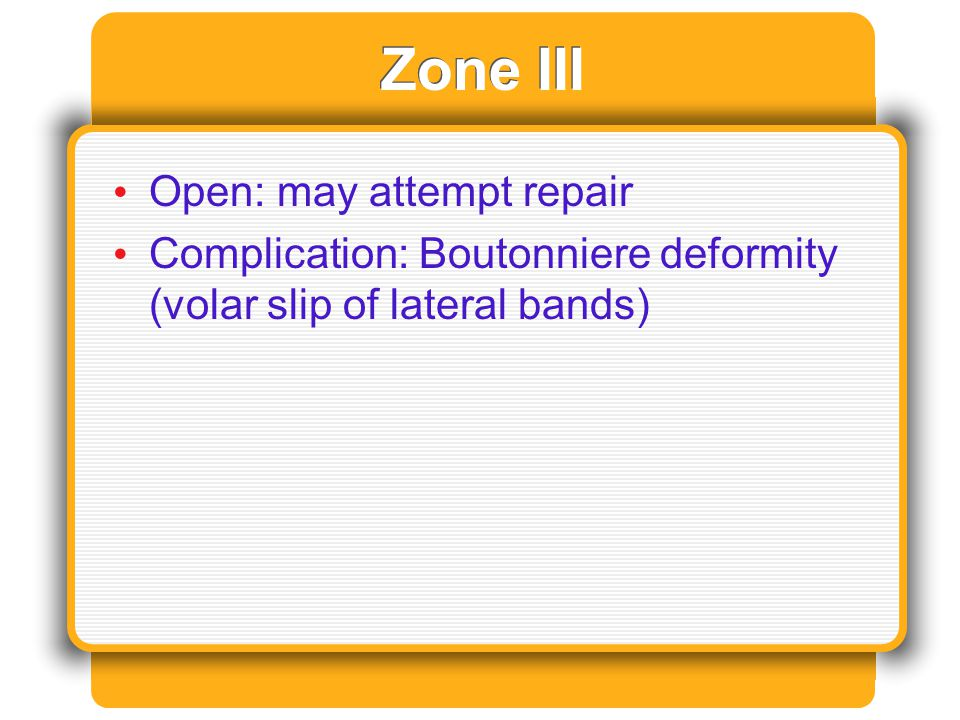 Zone III Open: may attempt repair