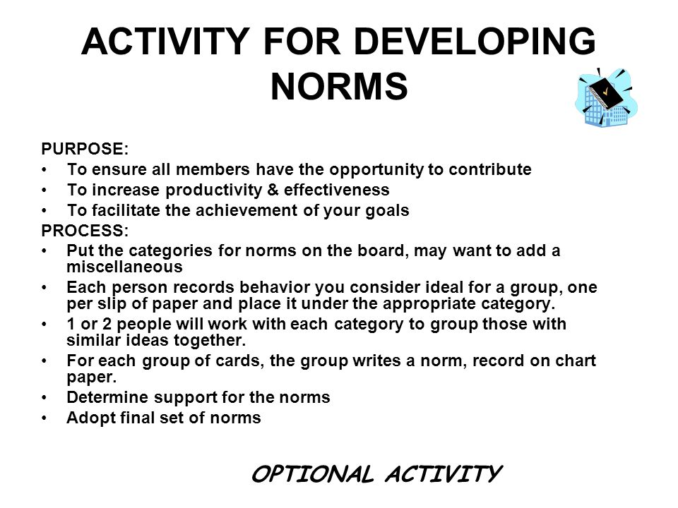 ACTIVITY FOR DEVELOPING NORMS