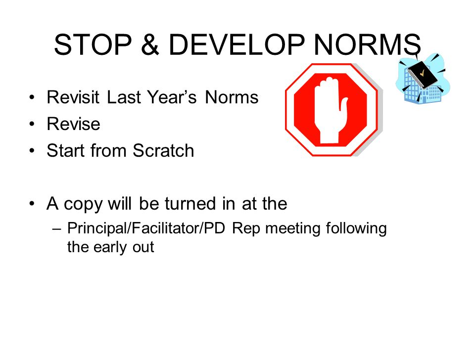STOP & DEVELOP NORMS Revisit Last Year's Norms Revise
