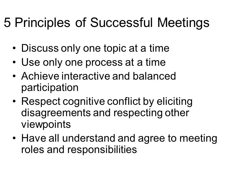 5 Principles of Successful Meetings