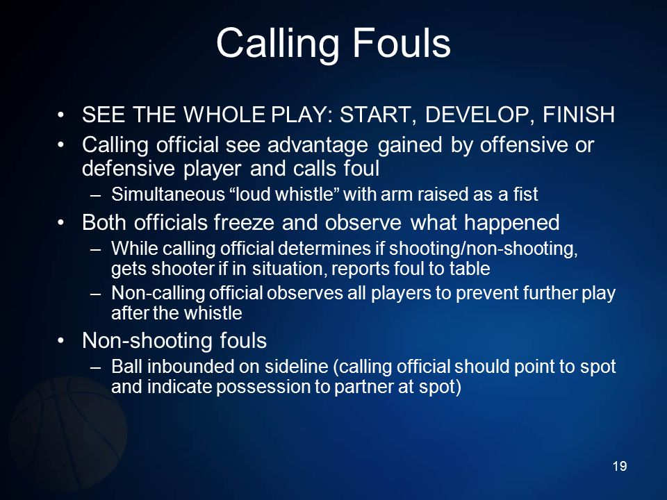 Calling Fouls SEE THE WHOLE PLAY: START, DEVELOP, FINISH