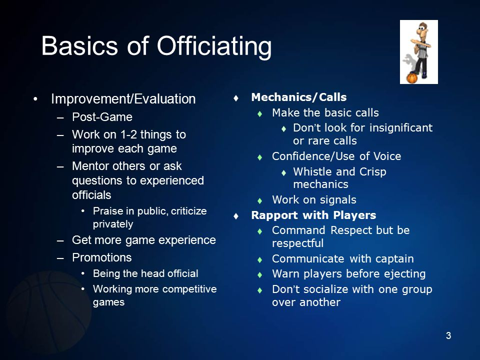 Basics of Officiating Improvement/Evaluation Post-Game