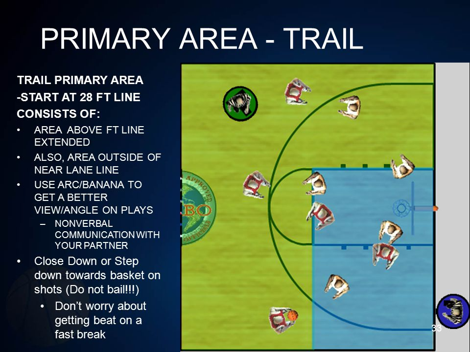 PRIMARY AREA - TRAIL TRAIL PRIMARY AREA -START AT 28 FT LINE