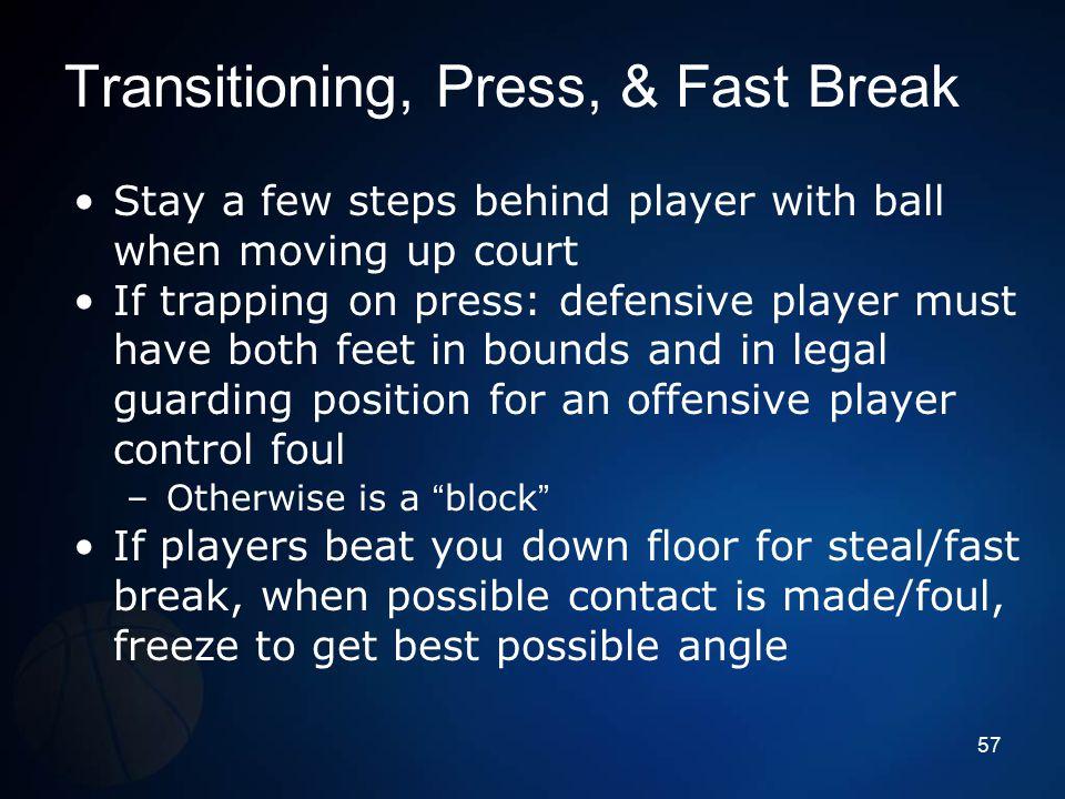 Transitioning, Press, & Fast Break