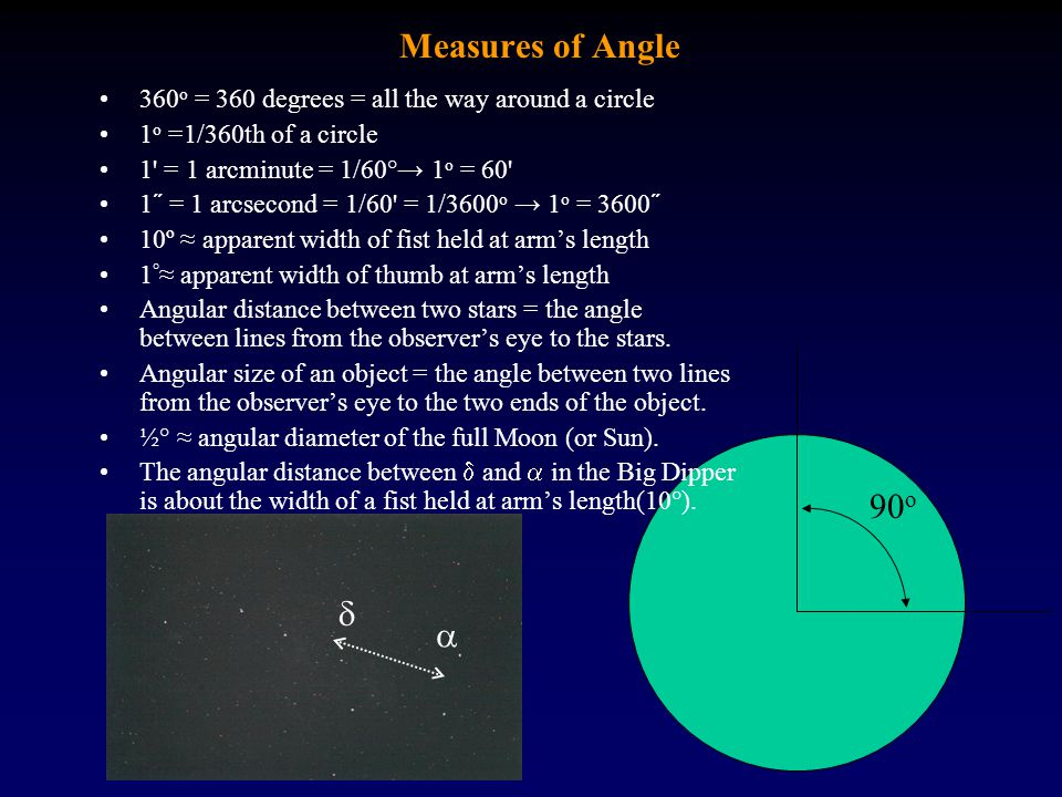 Measures of Angle 360o = 360 degrees = all the way around a circle. 1o =1/360th of a circle. 1 = 1 arcminute = 1/60°→ 1o = 60