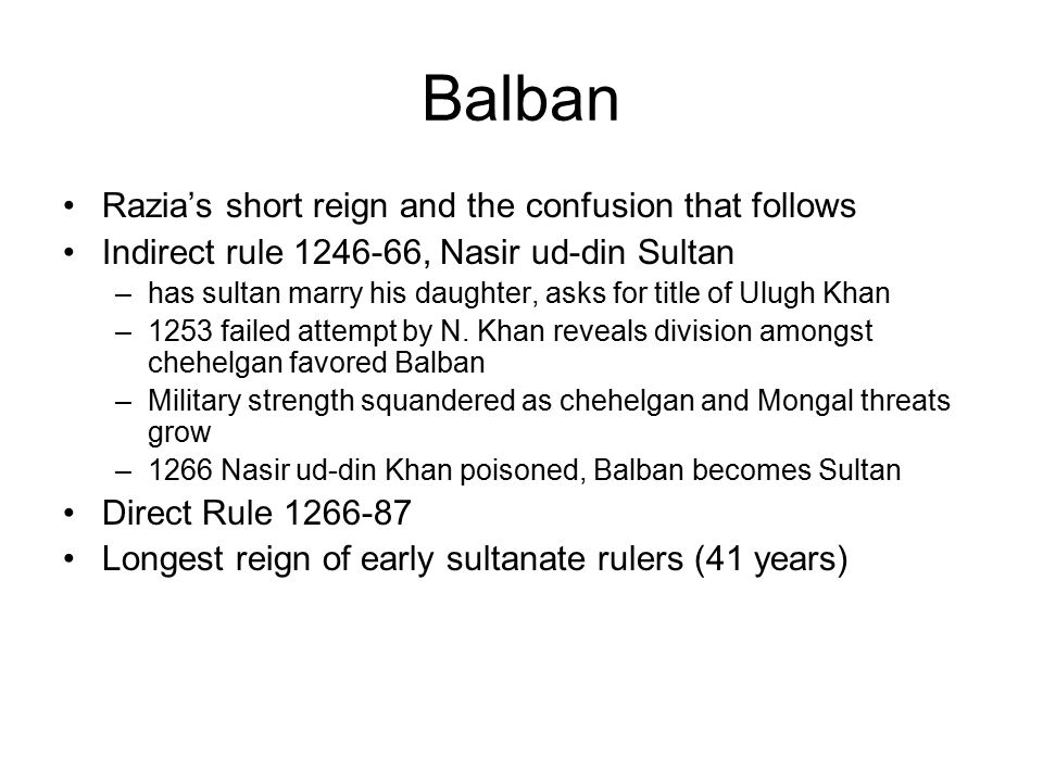 Balban Razia's short reign and the confusion that follows